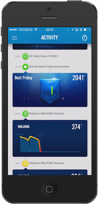 Nike+ Fuelband app on iPhone 5 - activity stats and motivations