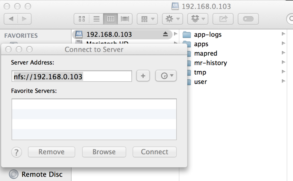 Mounting NFS share from HDP HDFS on OSX