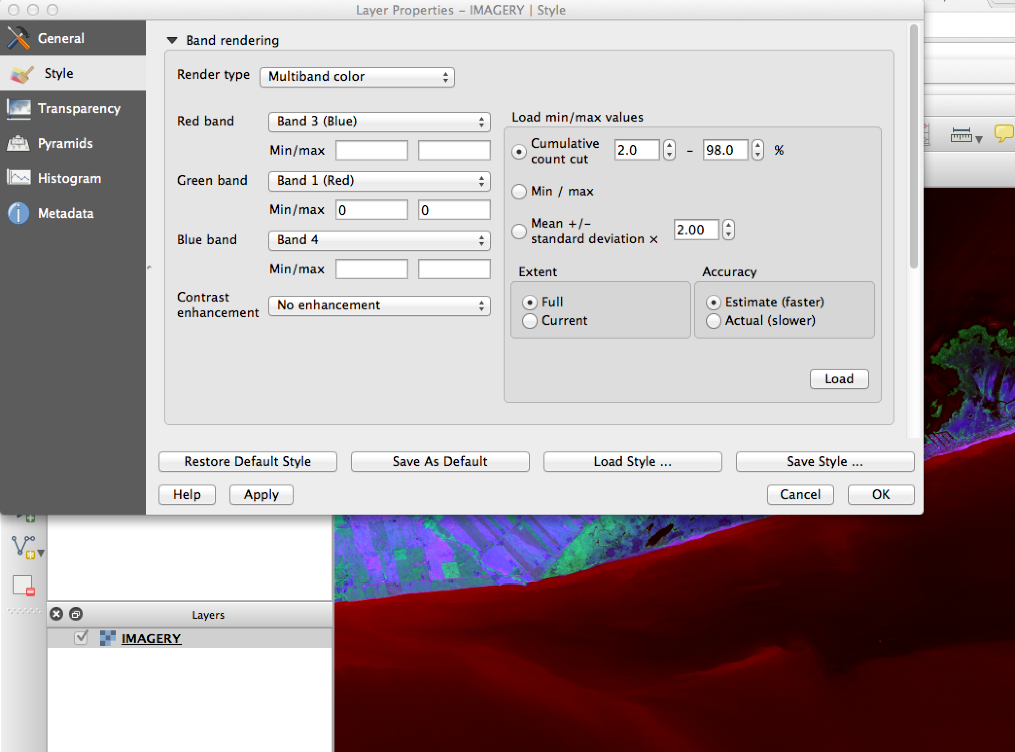 Raster layer multispectral band channel editing