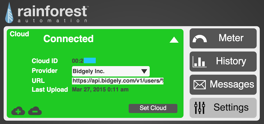 Eagle energy monitor UI for configuring cloud connected services