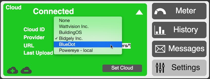 Form showing Eagle energy monitor - configuring cloud services options